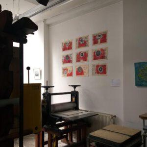 De rode Ridder - installiert in der Kölner Graphikwerkstatt über der Tiefdruckpresse