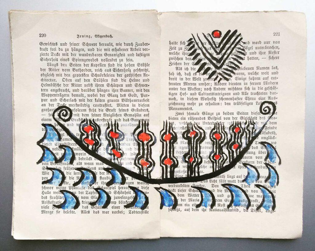 Die mit Tusche und Aquarell bearbeiteten Seiten 220 - 221 - aus dem Skizzenbuch von Irving