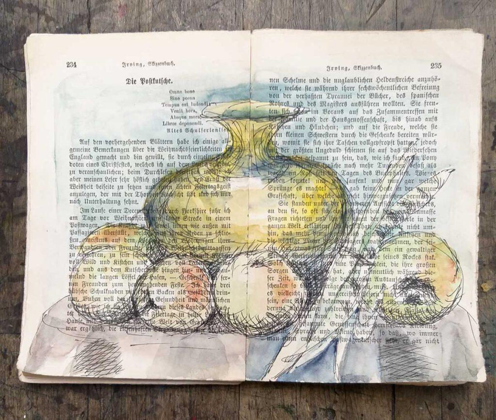 ein Stillleben in zwei Seiten von Irvings Skizzenbuch