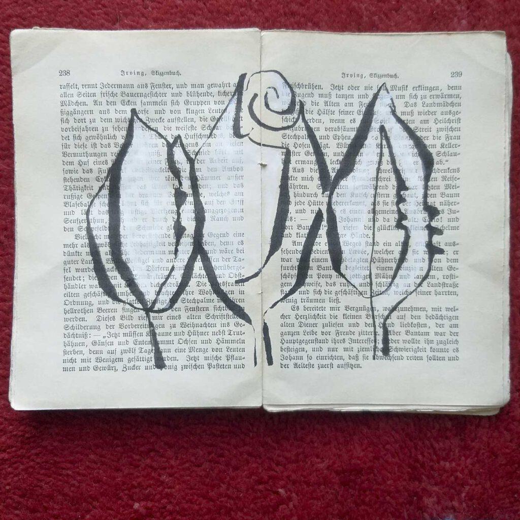 Zeichnung von Rosen auf Irvings Skizzenbuch