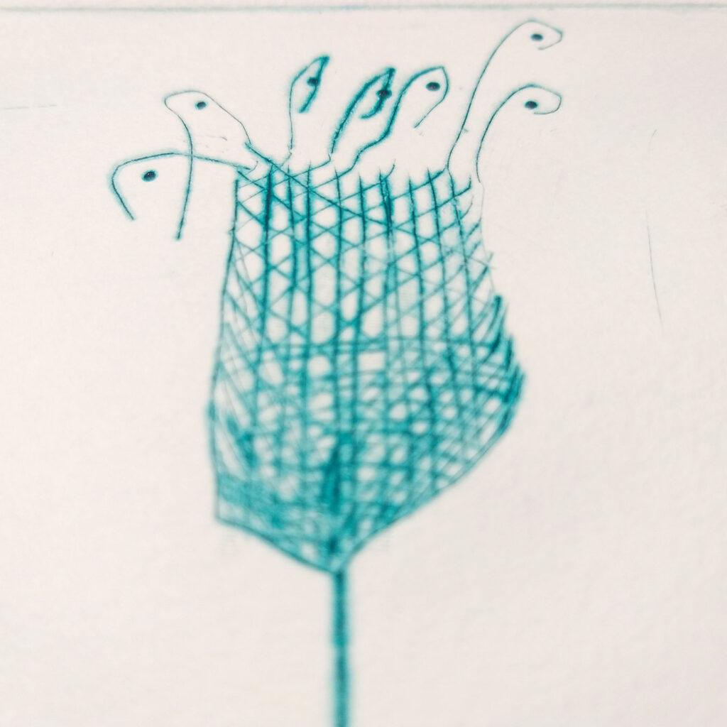 Makroaufnahme einer Kaltnadelradierung, die verdeutlicht, wie präzise das Papier die Farbe aufnimmt