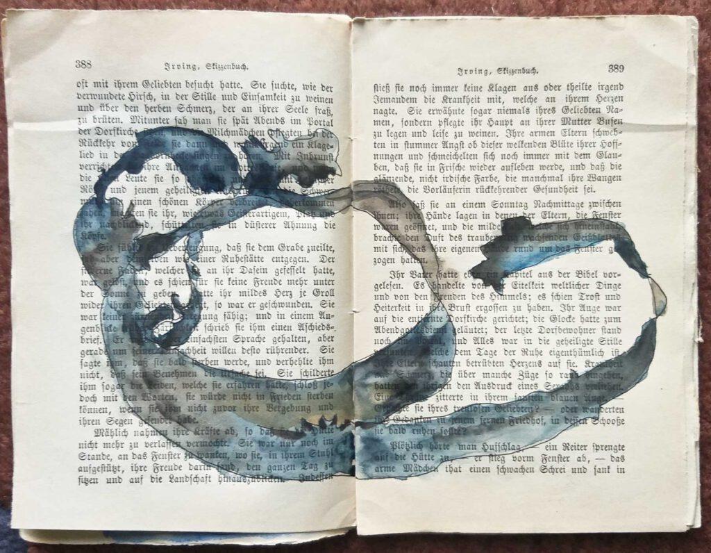 Die Seiten 388 und 389 aus dem Skizzenbuch von Washington Irving, mit Tusche und Wasserfarbe überarbeitet.
